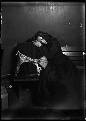 Slovak Woman Immigrant Taking Nap In Baggage/1905