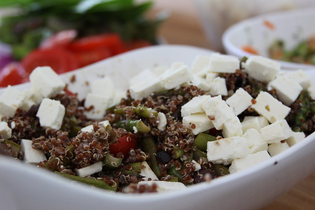 quinoa, roasted asparagus, tomatoes, olives & feta