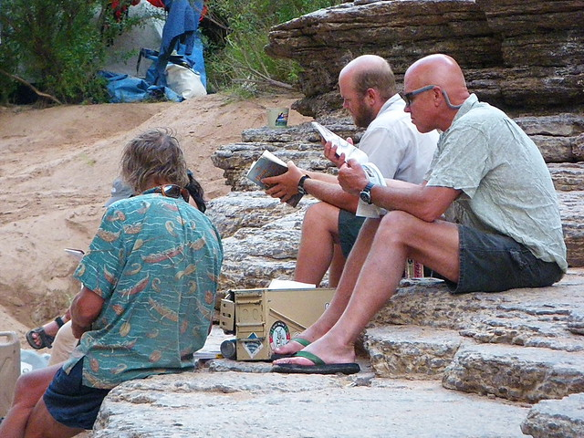 Poring over our maps - The Ledges - Grand Canyon