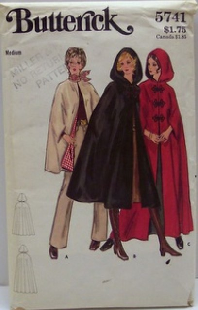 Vintage Butterick Pattern 5741 Womens Small Size 8 10 Cape in Three Lengths Bust 31.5 to 32.5 Full Waist and Hip