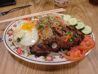 Grilled Pork, Shredded Pork, Egg Cake, Fried Egg - Saigon Grill, Durham