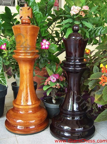 Wooden Giant Chess Pieces For Patio Decor Indoor And