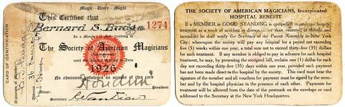 Society of American Magicians Membership Card