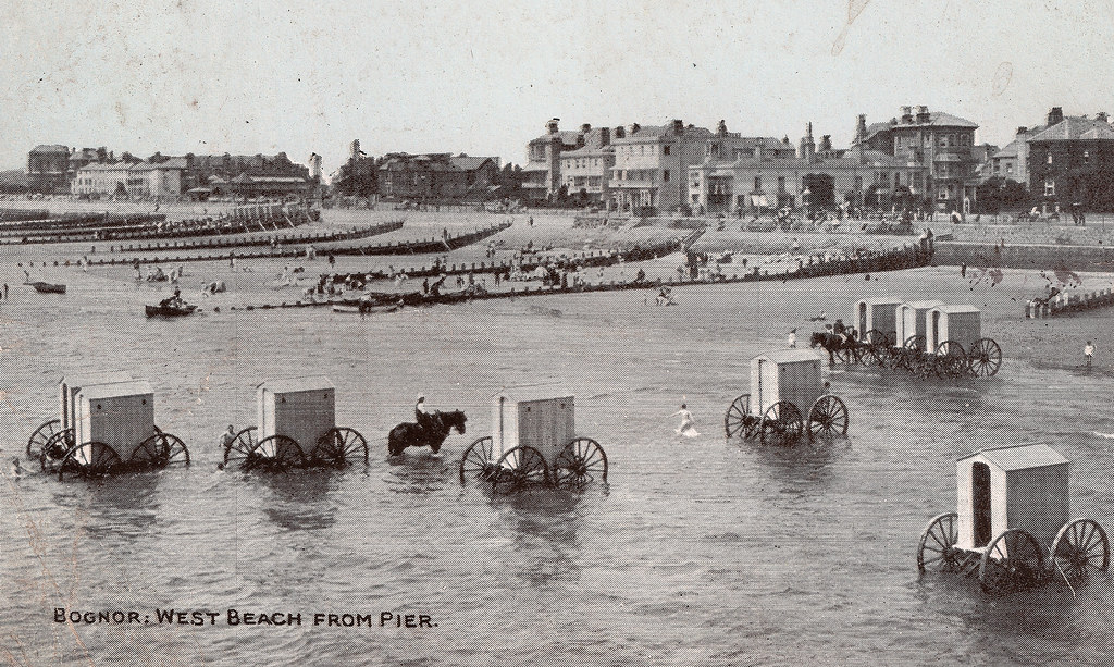 Wheeled bathing machines in Bognor Regis, West Sussex, with a link to the Indy 500