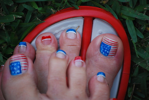 4th of July Pedicures American Flag Toenails Flag Pedicure