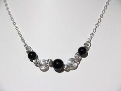 Onyx double spiral necklace