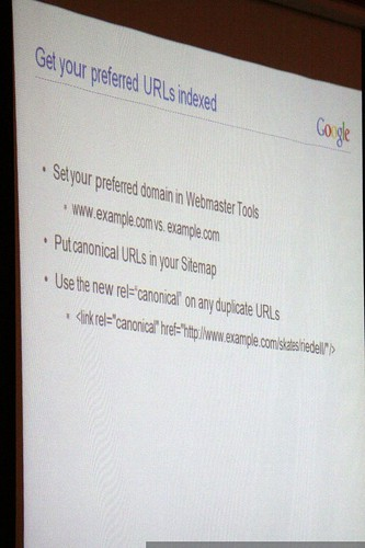 slide: get your preferred urls indexed   on site insight! technical seo advice from the pros   sempdx searchfest 2009    MG 9372