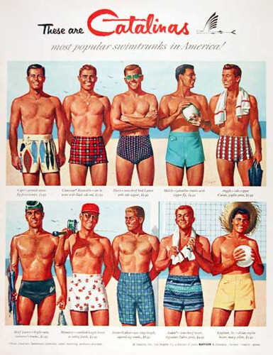 "Beefcake on Parade - Vintage Men""s Catalina Bathing Suit Advertisement"