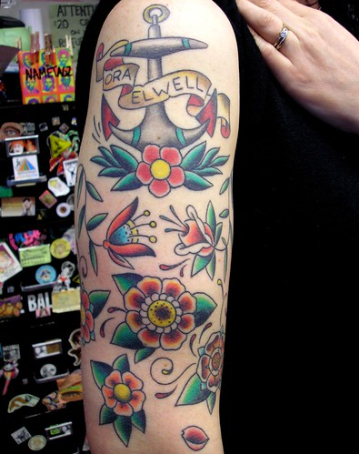 Shana's Anchor and Flowers Tattoo