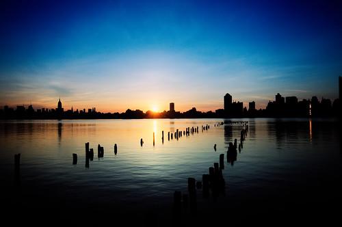 nyc newyorkcity newyork reflection silhouette sunrise geotagged newjersey jerseycity esb hudsonriver empirestatebuilding hdr mudpig stevekelley