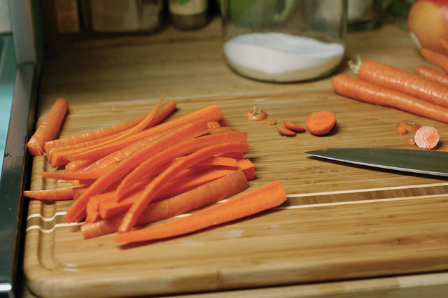 chopping carrots