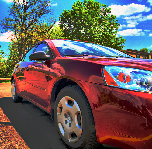 trees windows red reflection car clouds rouge lights mirror gm raw pittsburgh doors pennsylvania pavement wheels tire bluesky olympus voiture multipleexposure bleu reflet ciel pontiac g6 miroir nuage fen arbre phare hdr pneu captures roue vitre evolt portes e500 chaussée alleghenycounty tonemap dynamicphoto dphdr rosstownship performancered