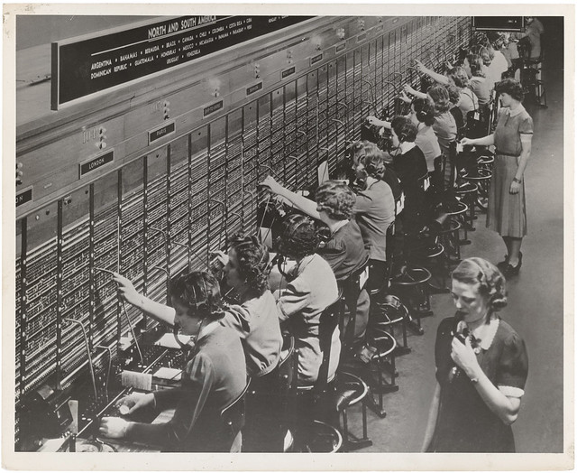 Photograph of Women Working at a Bell System Telephone Switchboard
