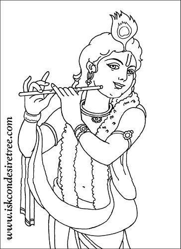 Line Drawing Krishna : Krishna andradha colouring pages