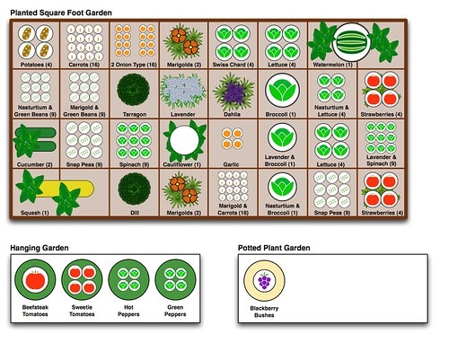 Landscape plans free vegetable garden designs and layouts for Square foot garden designs