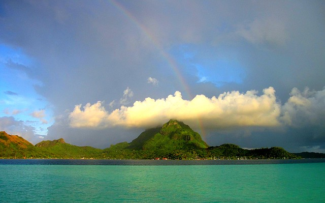 Rainbow through cloud over Mount Otemanu Bora Bora