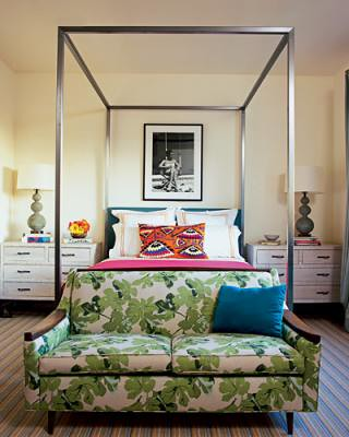 vintage bedroom modern canopy bed love seat featured in elle decor