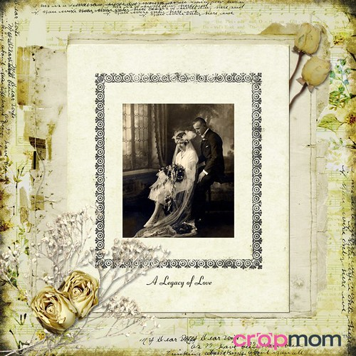 CropMom online scrapbooking vintage wedding scrapbook page
