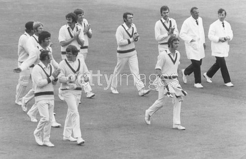 Bob Massie is clapped off the field after taking 16-137 on debut-Australia vs England 2nd test Lords