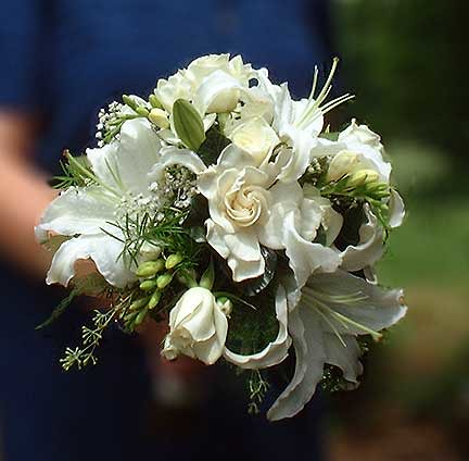 Gardenia Lily fragrant wedding bouquet by Beikmann Associates