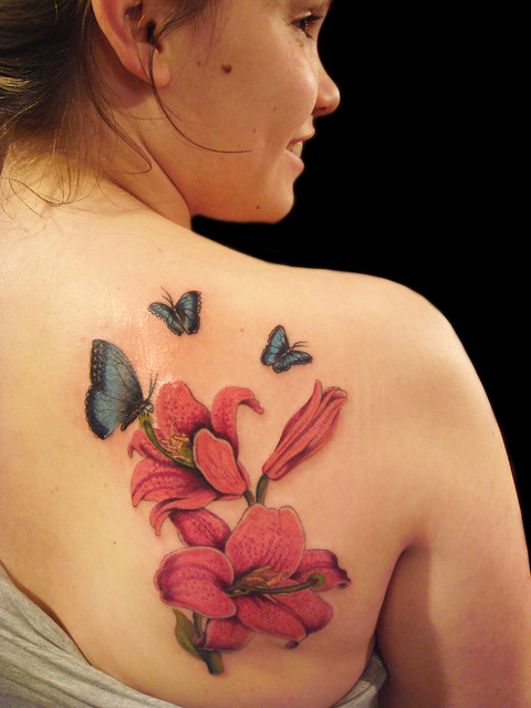 Lily Flower and Butterfly Miguel Angel Custom Tattoo Artist