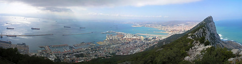 city sea panorama rock port spain ships gibraltar freighters