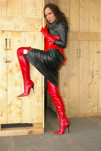Lady Nadja in sexy red thigh high stiletto boots 016