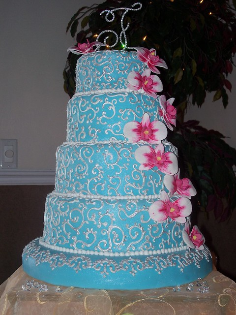 Tiffany blue wedding cake w gum paste orchids