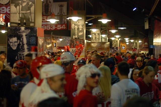 Crowds on the concourse at Joe Louis Arena