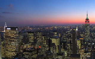 Skyline, New York City, New York from Rockefeller Center at night