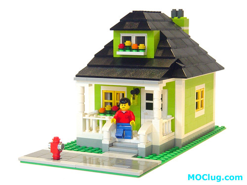 Moc lime green house lego town eurobricks forums for How to build a small house step by step