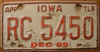 IOWA 1989 ---APPORTIONED TRAILER PLATE
