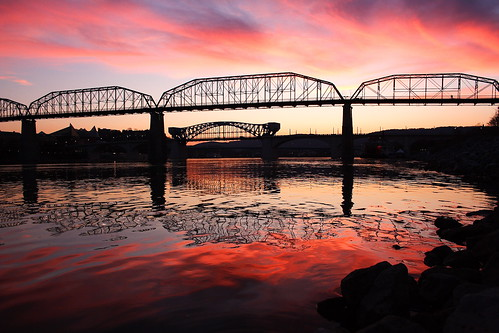 bridge winter sunset chattanooga water clouds landscape tennessee tennesseeriver