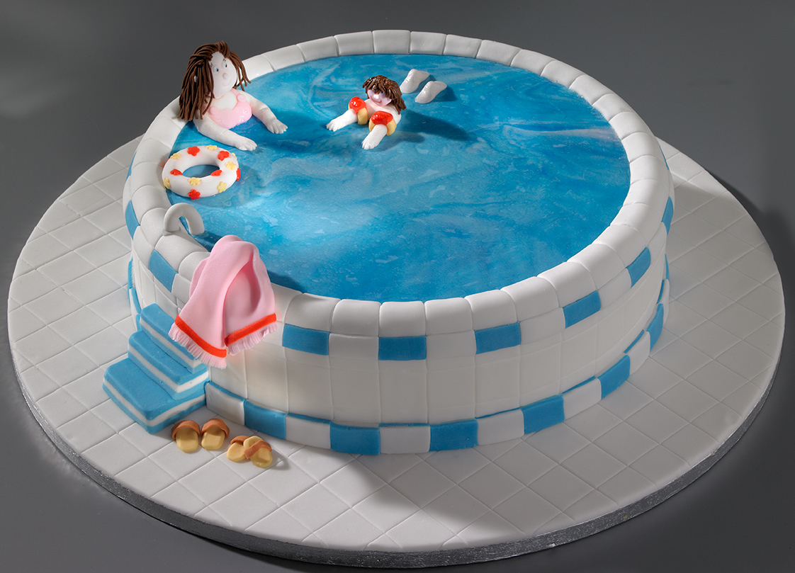 Learning to swim cake a photo on flickriver - Swimming pool birthday cake pictures ...