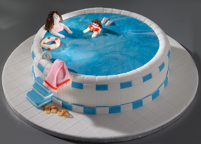 Learning to swim cake flickr photo sharing for Swimming pool birthday cake pictures