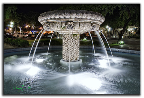 nightphotography blue light fab southwest water fountain photoshop buildings lights nightshot tucson sony lightning soe cs4 colorefex impressedbeauty dslra350 dslr350 sonydslra350 stphilipsplaza lgeof