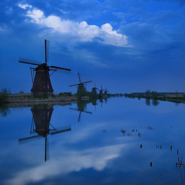 Kinderdijk Blue Hour