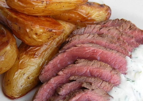 Grilled Steak with garlic sauce
