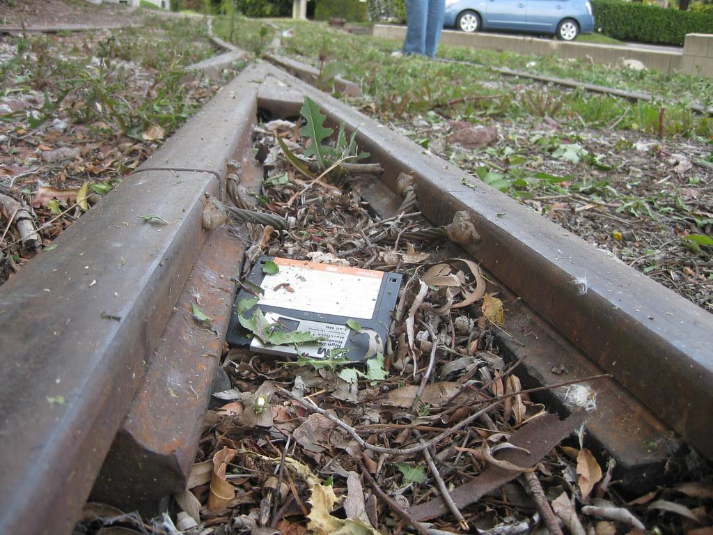 Abandoned floppy disk on tracks