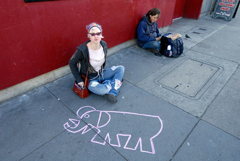 A random drawing of Michael's mascot on the streets of San Francisco - Haight Ashbury