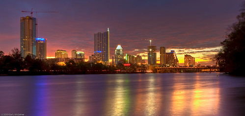 sunset water skyline night sunrise buildings austin reflections downtown texas tx cranes townlake hdr ladybirdlake