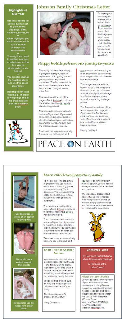 word newsletter template for christmas  green