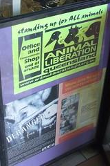 Animal Liberation Shop sign, Ipswich Rd, Annerley Junction, Brisbane, Queensland, Australia 090617