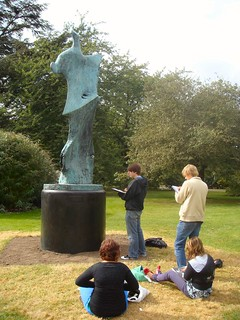 Sketching a Henry Moore sculpture at Kew Gardens