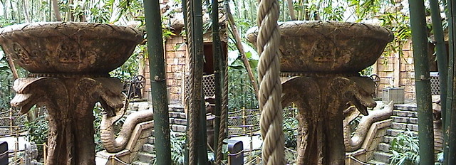 3D, Brazier of Souls, view from Rope Bridge, Queue, Indiana Jones™ Adventure - The Temple of the Forbidden Eye, Adventureland, Disneyland®, Anaheim, California, 2009.02.23 13:23