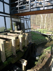 The wheel of the mill. MARSELISBORG FOREST MILL, AARHUS, DENMARK.