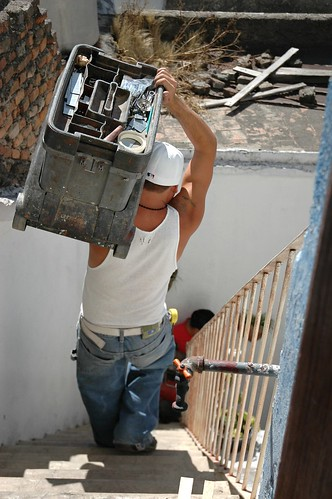 Carpenters are finished, carry toolbox down the rickety staircase, The Making of Closet, Guadalajara, Mexico by Wonderlane