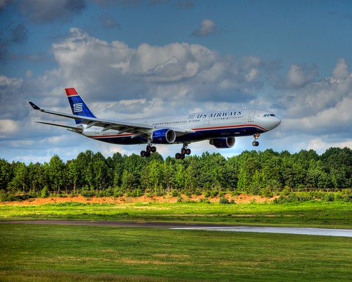 airplane geotagged nc charlotte jet northcarolina aeroplane 330 landing airbus hdr a330 usairways clt photomatix dougjohnson kclt geo:lat=35225006 geo:lon=80955768 bigjohnsonphotoblogspotcom