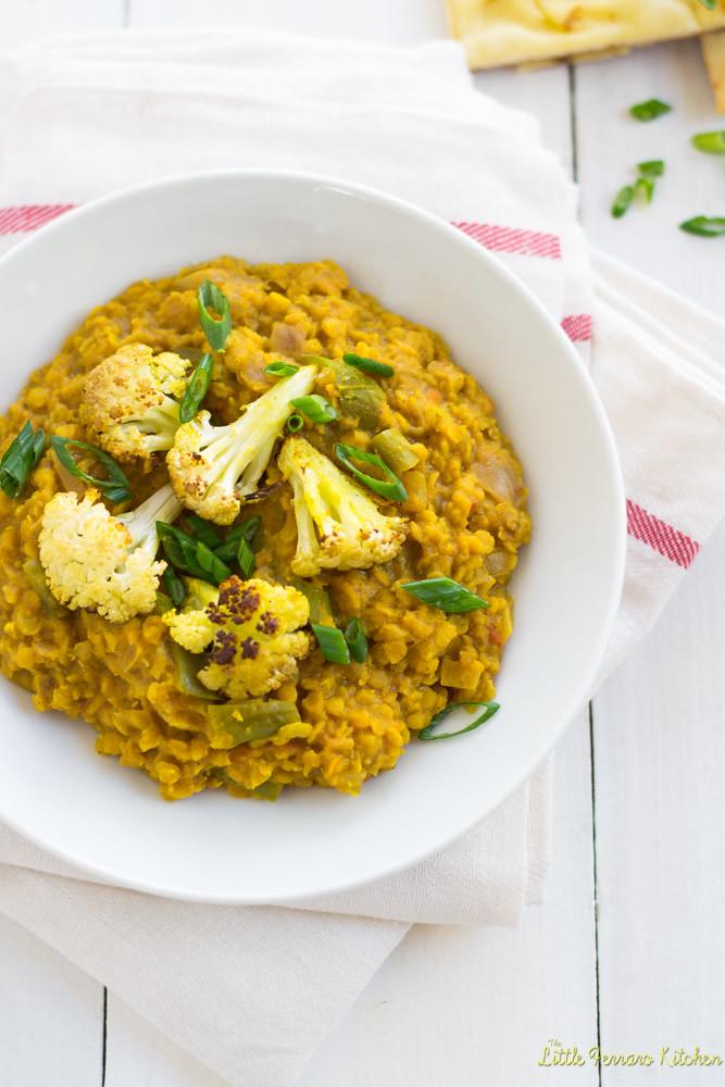 Red Lentil Coconut Curry with Roasted Cauliflower via LittleFerraroKitchen.com