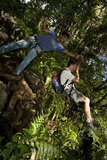 Zipline riding over the Riviere des Galets, Mauritius by sebastien jourdan